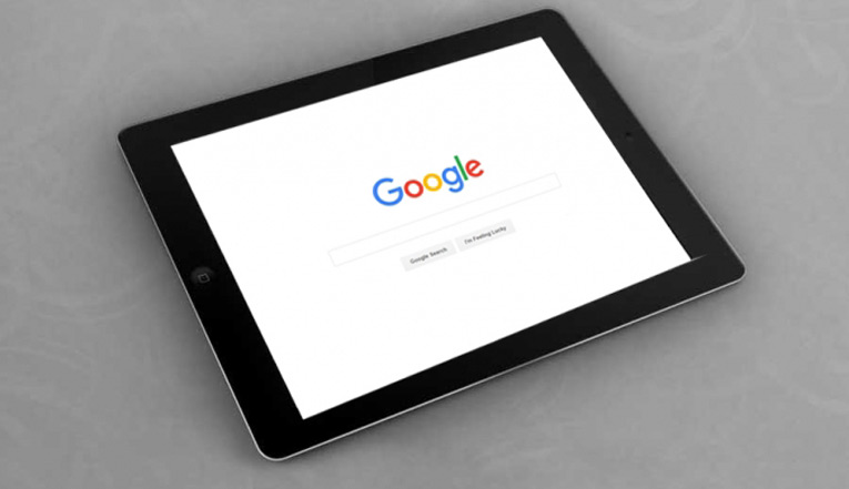 google search page on tablet