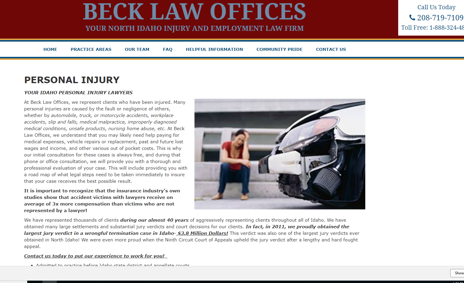 Beck Law Personal Injury Page