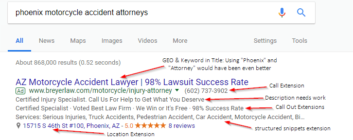 breyer law adwords ad with notes