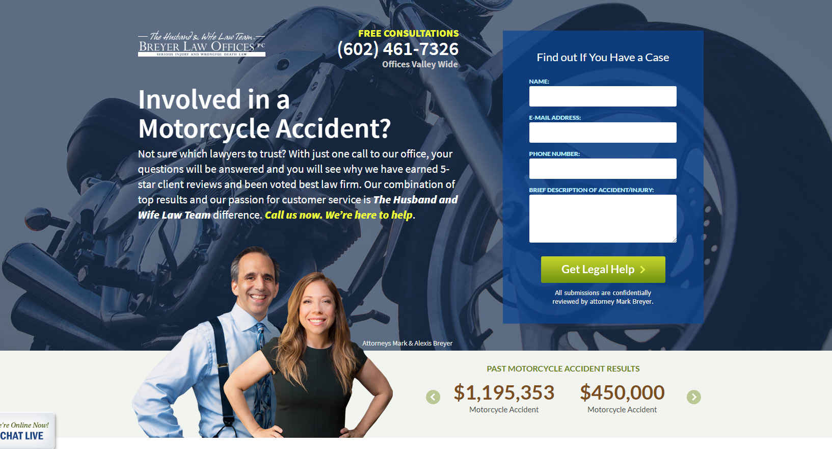 breyer law ppc landing page