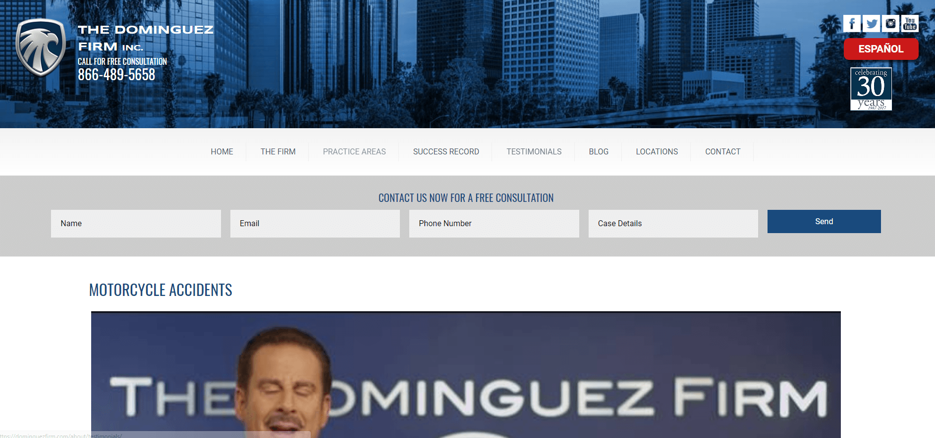 dominguez law firm ppc landing page above the fold