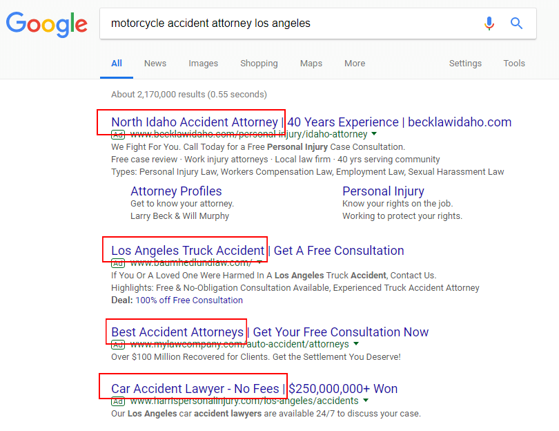 google search results motorcycle accident lawyer