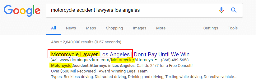 subsequent google search motorcycle accident lawyer los angeles